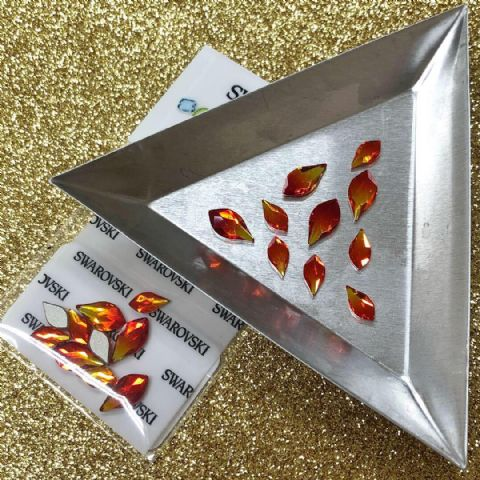 Mixed Pack of 10pc Swarovski Flatback Flame Crystals, Non-Hotfix, Size 7.5mm/10mm, Fireopal